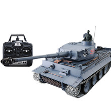 цена на 1:16 German Tiger Heavy Tank 2.4G Remote Control Model Military Tank with Sound Smoke Shooting Effect - Metal Upgraded Edition