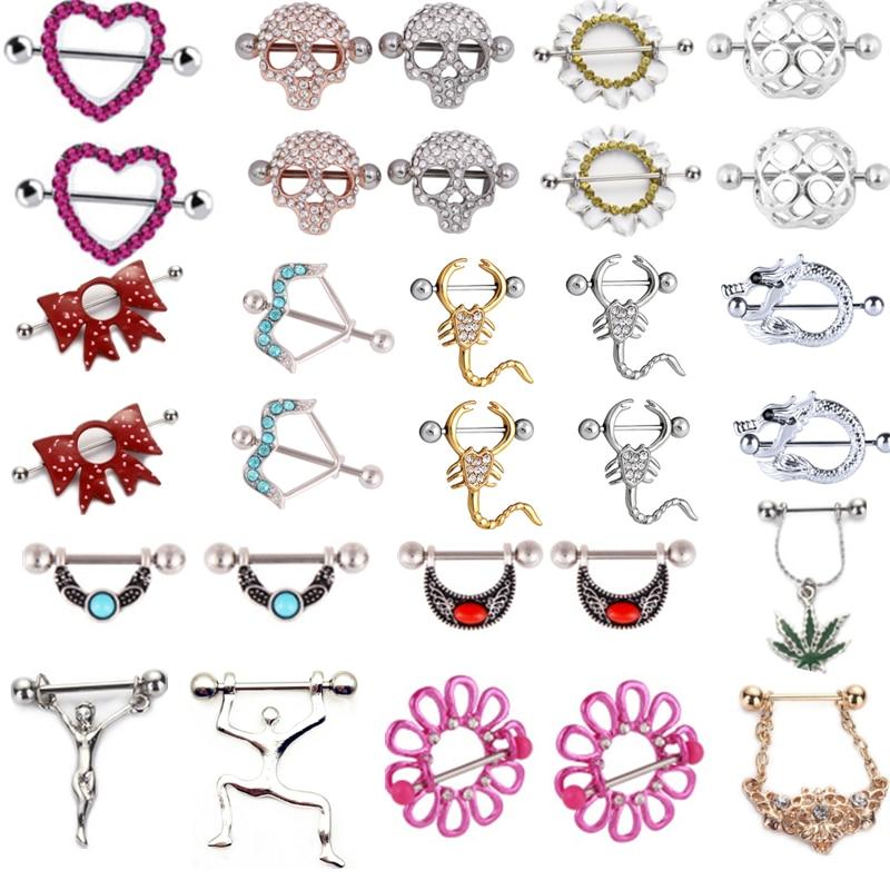 1 par de acero inoxidable pezón anillo Piercing Bar Sexy flor pezón escudo Pircing pezón Mujer calavera Jesús Tepel joyería cuerpo