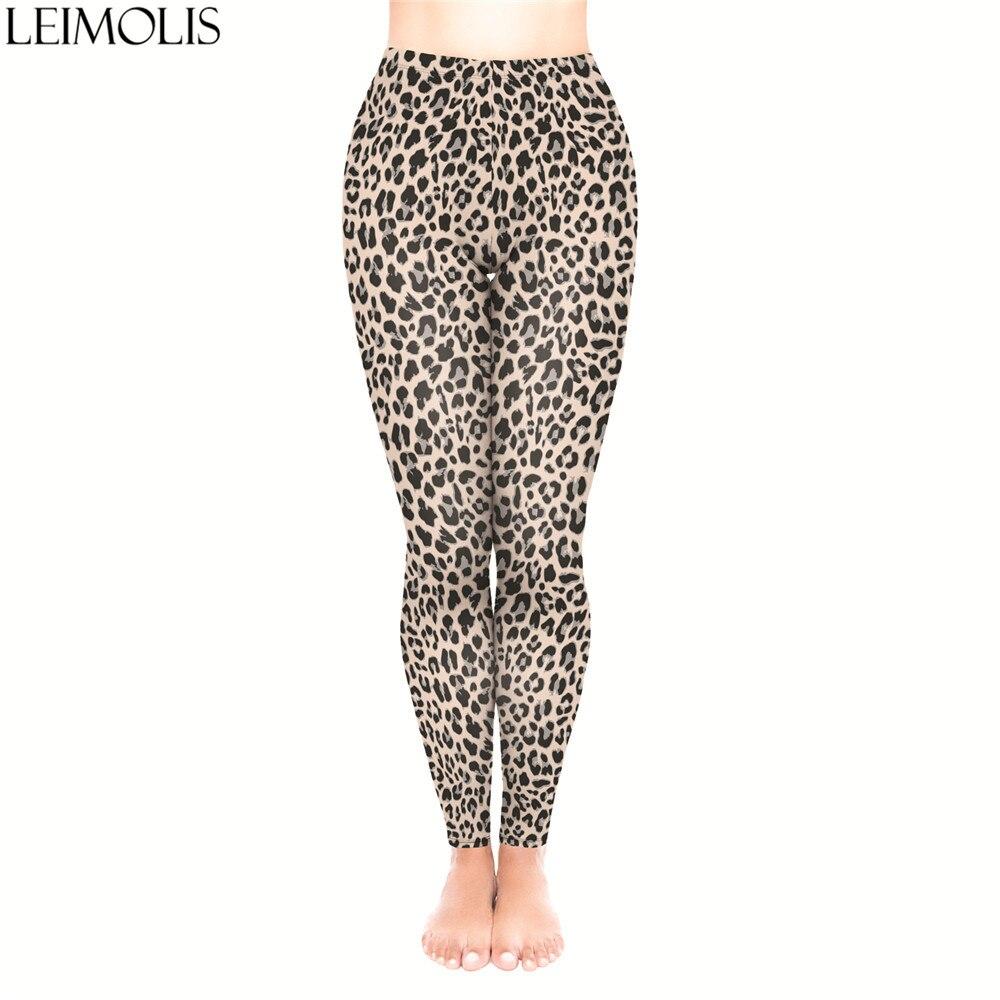 LEIMOLIS 3D Print Brown Leopard Animal Fitness Push Up Workout Leggings Women Plus Size High Waist Punk Rock Sexy Leggins
