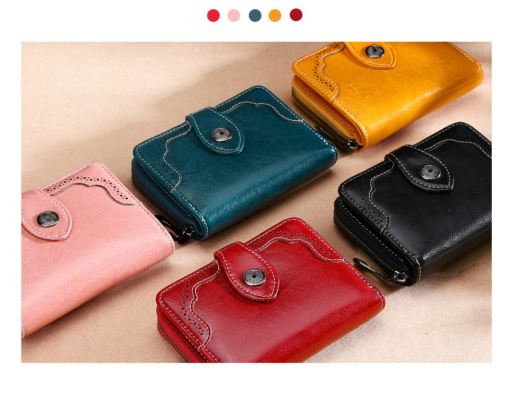 CICICUFF Genuine Leather Women Short Wallet Women's Purse Zipper oil wax leather Purse Card slots Wallet Coin Pocket Cartera