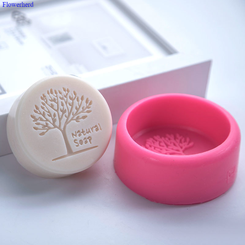 Round Natural Tree Handmade Soap Silicone Mold DIY Christmas Soap Mold Soap Making Supplies Cake Decorating Tools Chocolate Mold