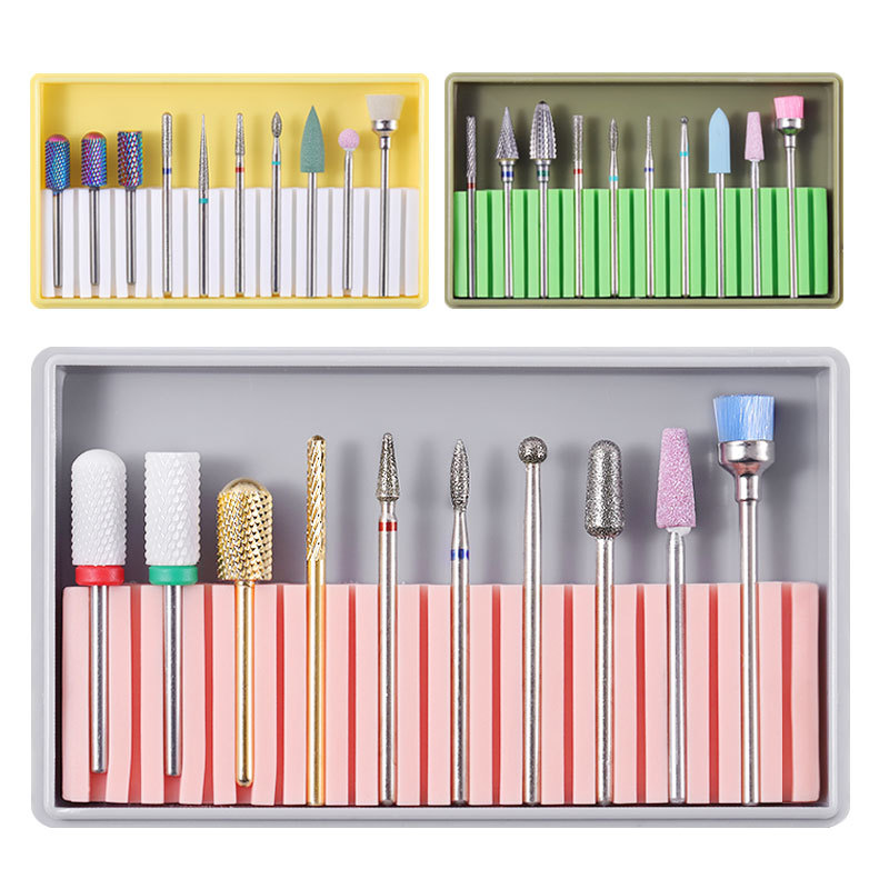 1 Set New Grinder Nail Drill Bits Alloy Tungsten Steel Ceramic Nail Files Sanding Head Set Polishing Manicure Tools Kit 8 Colors