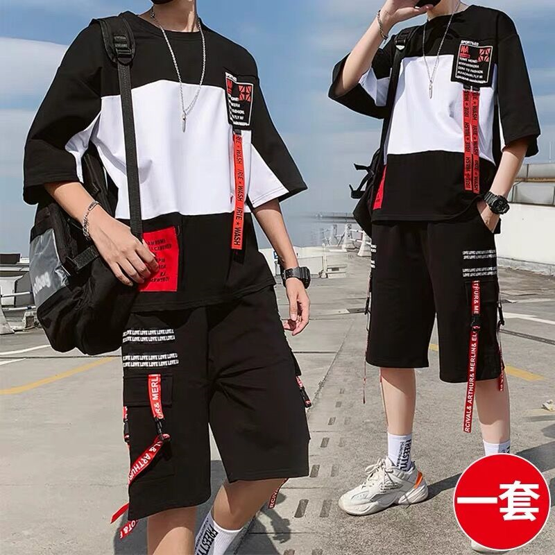 NiceMix Streetwear 2pcs Set Men Short-sleeved Shorts Two-piece Suit Male Summer Student Youth Hip Hop Sports Style All Matching