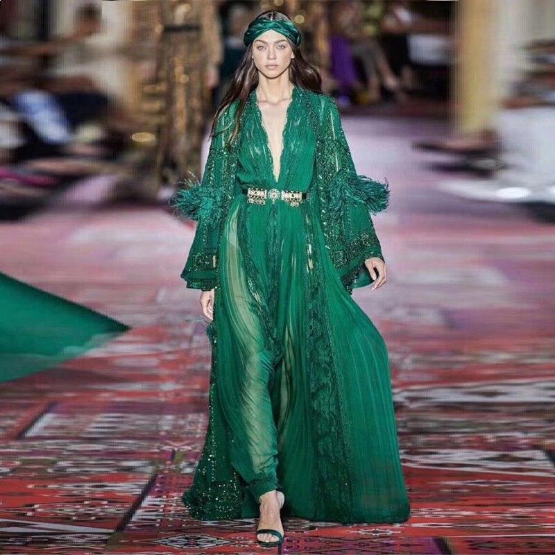 5179 2019 último Verde Negro Vintage Vestido Largo Moda Pluma Encaje Celebridad Flare Manga Sexy Deep V Cuello Fiesta Vestidos Elegantes On