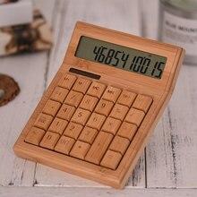 Электронный калькулятор, портативный, на солнечных батареях, 12 цифр, студенческий офис, коммерческий бамбуковый школьный счетчик, многофункциональный