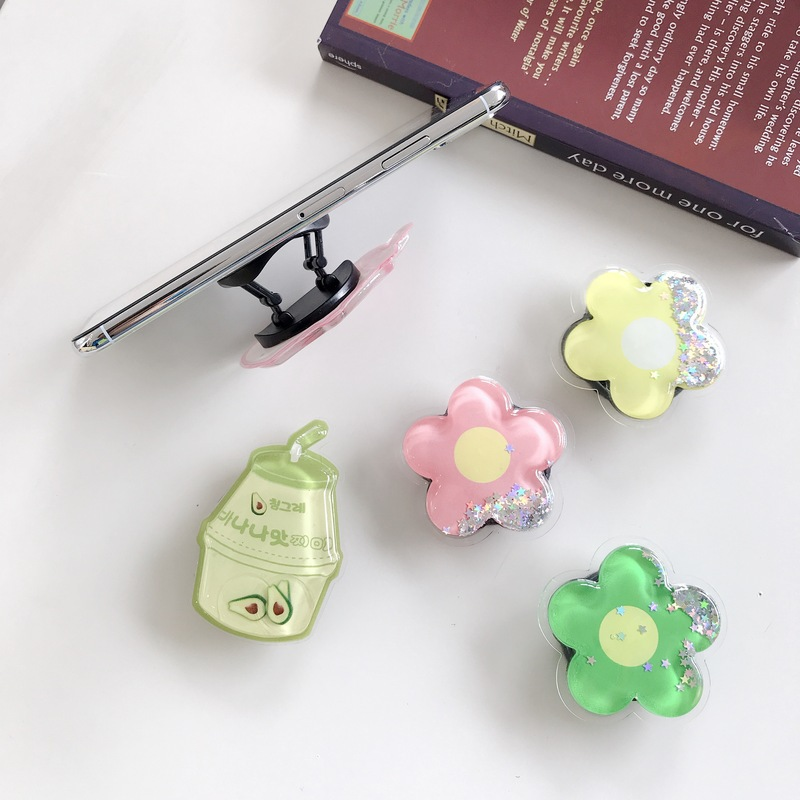 Cute Cartoon Quicksand Liquid Kids Socket Phone Holder Portable Bracket Adjustable Folding Stander For Smartphone Finger Socket