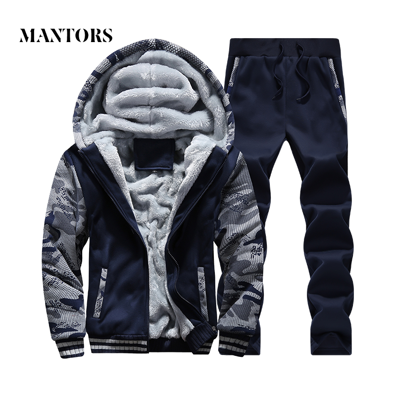 Men Tracksuits Camouflage Winter Fleece Warm Hooded Coat 2018 Autumn Winter Male Casual Suit Jacket+Pant Mens Clothing Set 4XL
