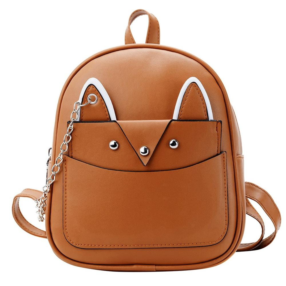 2pc/Set Mini Fashion Women Student Solid Color Leather Fox Backpack School Bag Backpack Travel Bag Cute Bagpack Mochila Feminina