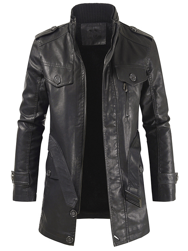 Jinmen Mens Classic Police Style Motorcycle Jacket 4 Pockets
