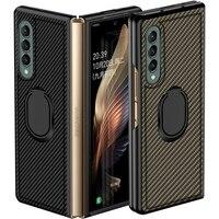 Carbon fiber texture Ring Halterung Fall für Samsung Galaxy Z Falten 3 Fall 360 Volle Schutz Harte PC Abdeckung für galaxy Z Falten 2 5G
