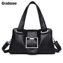 Gradosoo Luxury Shoulder Bags For Women Handbags PU Leather Messenger Fashion Totes Female Large Capacity HMB627