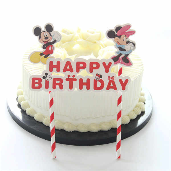 Fabulous 1Pcs Mickey Minnie Mouse Theme Happy Birthday Cupcake Cake Topper Funny Birthday Cards Online Unhofree Goldxyz
