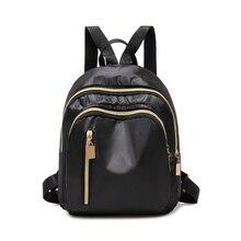 Women Simple Three Zipper Solid Black Nylon Waterproof Backpack Student Kids Small Lightweight Durable School Bag Bookbag Ba0180