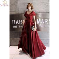 Burgundy Evening Dresses 2020 Cap Sleeve Pleat Long A Line Satin Floor Length Prom Gown Formal Party Graduation Custom made