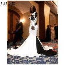 E JUE SHUNG Vintage vestidos de novia de sirena africana de manga larga cuello en V sin espalda apliques blanco y negro satén vestidos de novia