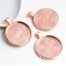 Alta qualidade 5 pçs 30mm tamanho interno cor ouro rosa chapeado cabochão base encantos ajuste pingente (B7-12)