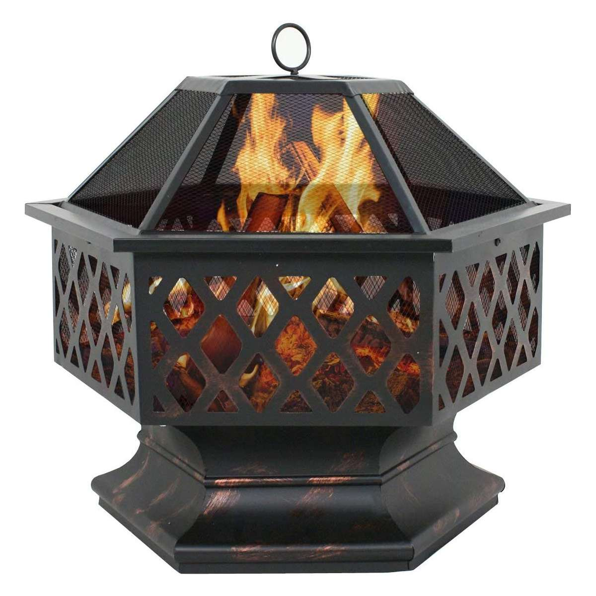 24Inch Portable Wood Burning Barbecue Fire Pits Hexagonal Brazier for Backyard Poolside Steel Black Courtyard Bonfire Fire Pit