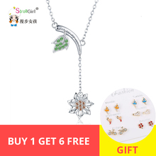 Strollgirl Spring Collection 925 sterling silver Green Leaf Sunflower Necklace graceful Necklaces & Pendant Fashion Jewelry Gift