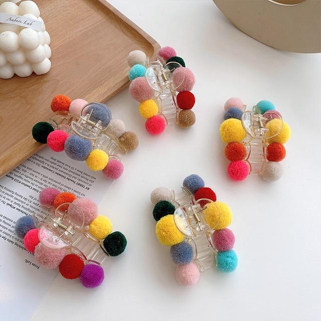 Купить заколка краб для волос с шариками женская элегантная разноцветная картинки цена