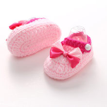 Handmade Infant Baby Crochet Shoes Newborn Kids Kawaii Knit Sneaker Booties Toddler Children Indoor Soft Sole Casual Footwear(China)