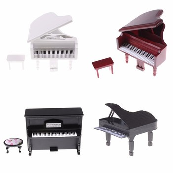 Dollhouse Miniature Vivid Wooden Piano with Stool Musical Instrument Model for Doll Acc Home Decor Children Toy Gift image
