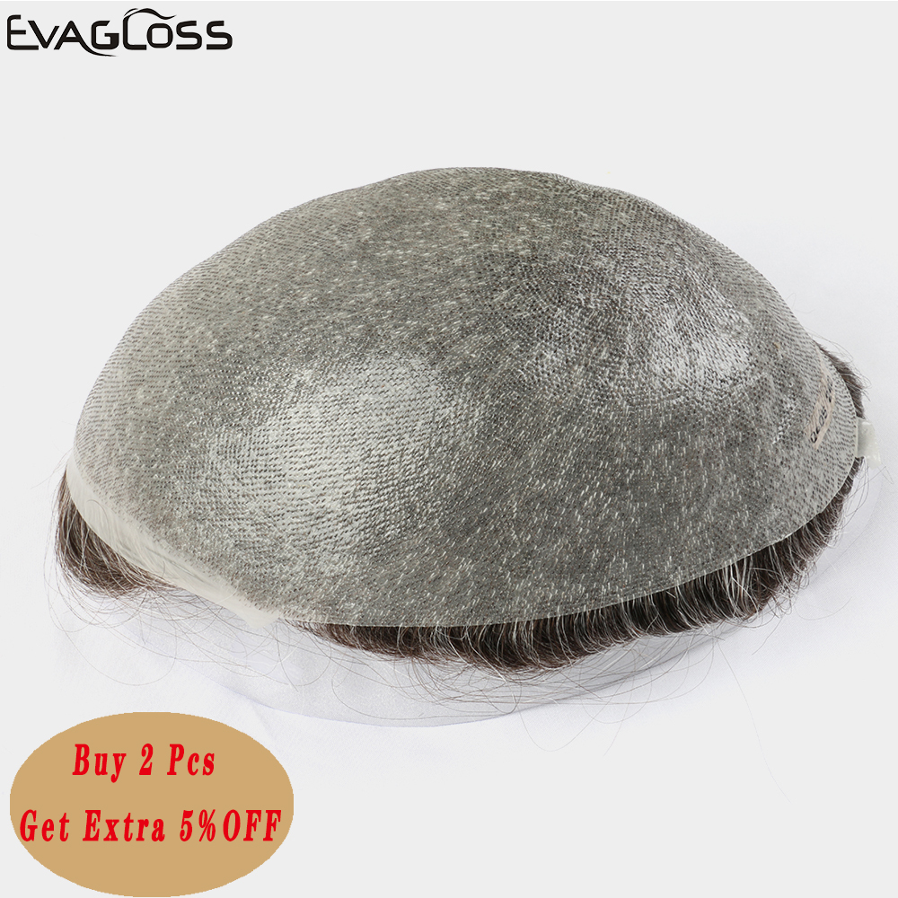 EVAGLOSS Color#240 Indian Human Hair System Male Wig Prosthetic Hair Capillary Prosthesis Mens Toupee Natural Remy Hair Man Wig