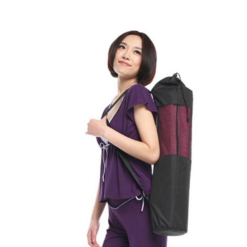 Fashion And Lightweight Yoga Mat Bag Nylon Black Backpack Yoga Bag Adjustable Strap Sport Tool Convenience Non-slip Surface