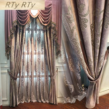 High Grade Velvet Gilded Window Curtains for Living Room Purple Color Window Curtains for Tulle Bedroom Blackout Curtains(China)