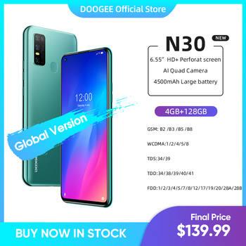 """DOOGEE N30 Full Netcom 6.55""""inch Quad Camera 128GB ROM Octa Core Global Version Cellphone 4500mAh Large Battery Android 10 OS"""