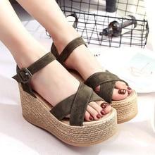 купить Women Sandals 2019 Platform Sandals Wedges Shoes For Women Heels Summer Shoes Leather Wedge Heels Sandals Sandalias Mujer P25 онлайн