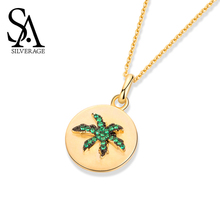 SA SILVERAGE Oasis Coconut S925 Sterling Silver Necklace Women Simple Tide Chain Female Jewelry Pendant