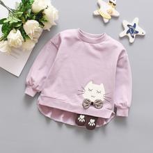 Одежда для маленьких девочек; толстовка с 3D принтом милого кота; осенне-зимняя футболка с длинными рукавами и рисунком кота; топы; свитер; пуловер;