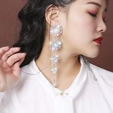FYUAN-pendientes brillantes con diamantes de imitación de copos de nieve para mujer, aretes de cristal con borla larga, joyería de compromiso para bodas, regalo