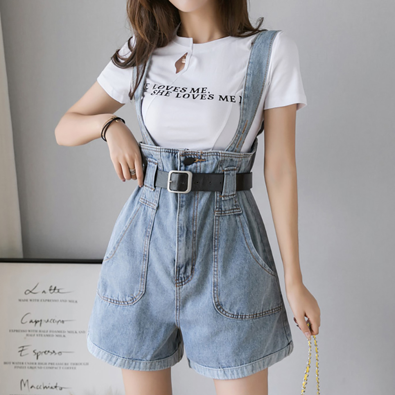 S- 3XL New Summer Plus Size Denim Overalls Female Harajuku Kawaii Playsuits Feminino Loose Students Women Jumpsuit Shorts Mujers