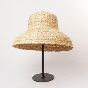 Image 3 - Sommer hüte für frauen Retro flache hängenden hut krempe hand made bast stroh hut damen outdoor sonnenschutz strand stroh hut