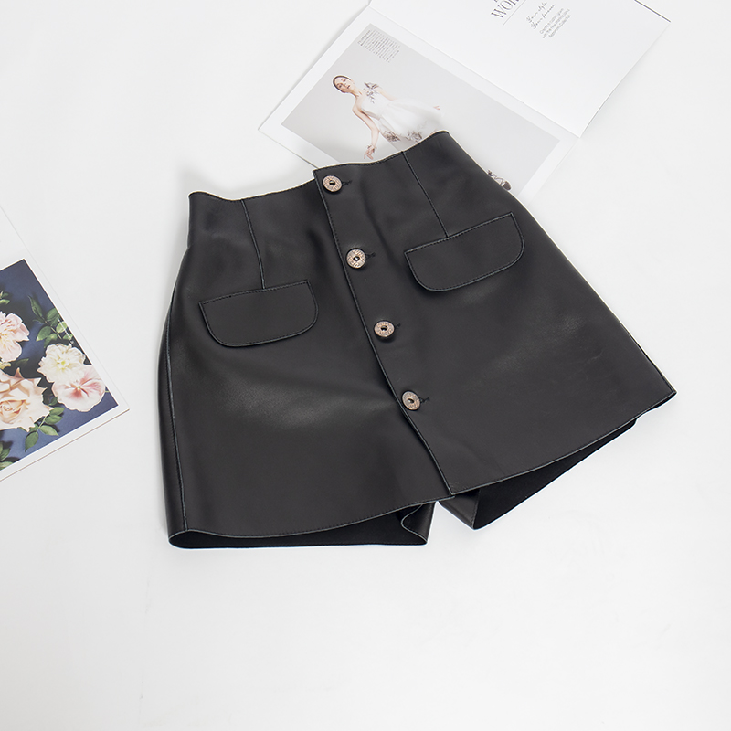 Leather Mini Skirt Women A Line Plus Size Black Sheepskin Sexy Skirt 2019 New Fashion Kawaii Pantskirt Female