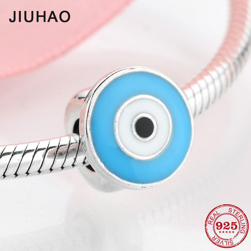 New 925 Sterling Silver Cartoon Enamel Eye Spacer Stopper Beads Fit Original Charm Pandora Bracelet Jewelry Making