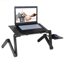 Adjustable Aluminium Meja Laptop Ergonomis TV Portable Bed Lapdesk Tray PC Tabel Stand Notebook Meja Meja Berdiri dengan Mouse Pad