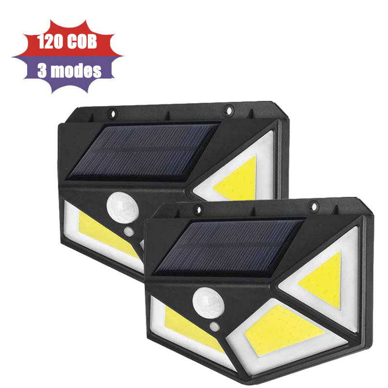 120 COB LED Solar Light Outdoor Solar Lamp PIR Motion Sensor Wall Light Waterproof Solar Lamps Sunlight Powered Lights PTCS