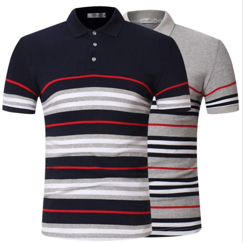 2019 Fashion High Quality Men's   POLO   Shirt Casual Slim Striped Shirt Men's Cotton Short-sleeved   Polo   Shirt Men