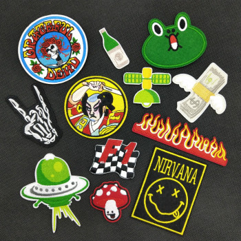 Japanese Warrior Racing Flag UFO Spaceship Novelty Patch DIY Embroidered Fabric Badge for Jacket Bag Clothing Patch Accessory image