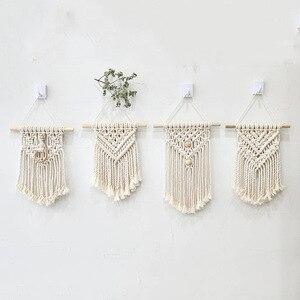 Image 5 - 北欧マクラメ壁掛け手織り綿小壁タペストリー子供のベッドルームヘッドボード写真の小道具自由奔放に生きる装飾