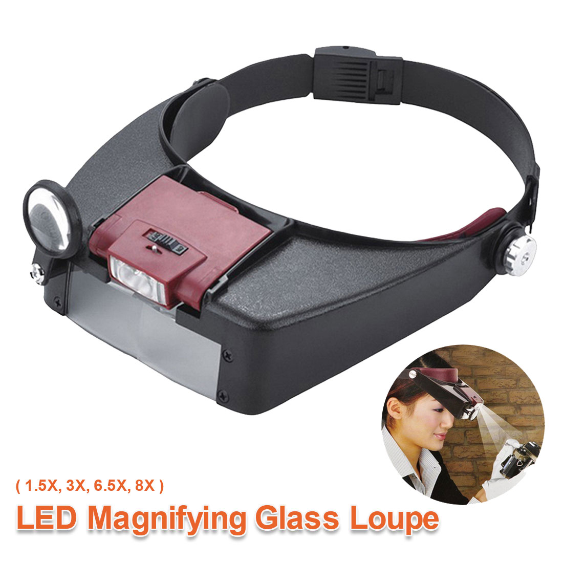LED Head-mounted Watch Maintenance Magnifying Glasses For Reading Optivisor Magnifying Glass Loupes Jewelry Watch Repair Tool