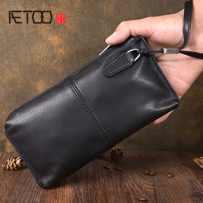 AETOO Original hand-made vintage genuine leather long Clutch leather soft handbag clutch large-capacity youth hand strap
