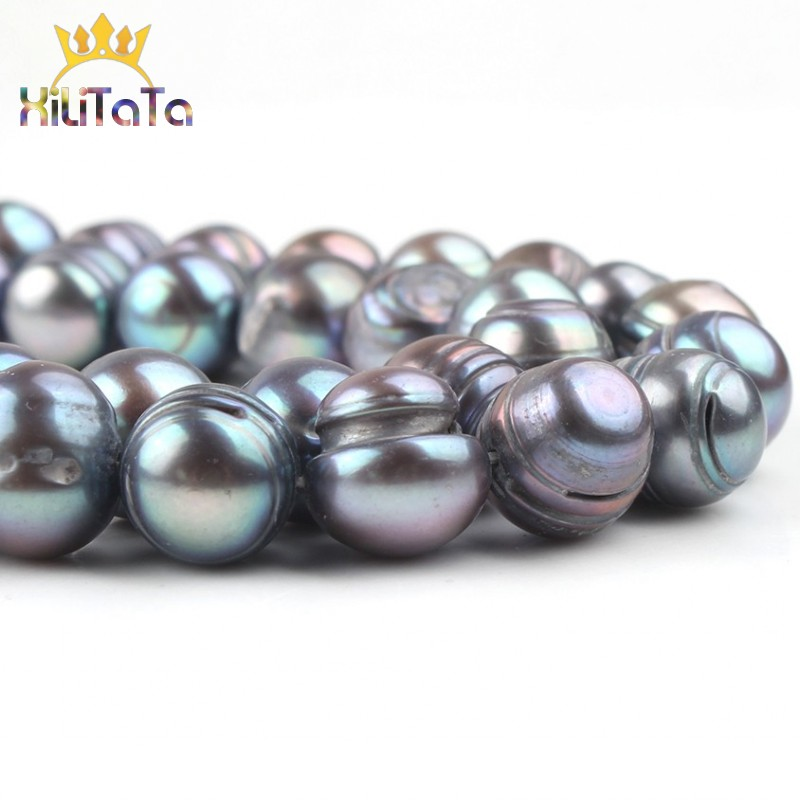 10-11mm Natural Black Freshwater Pearl Beads Round Loose Spacer Pearls Beads For Jewelry Making DIY Bracelet Accessories 15''