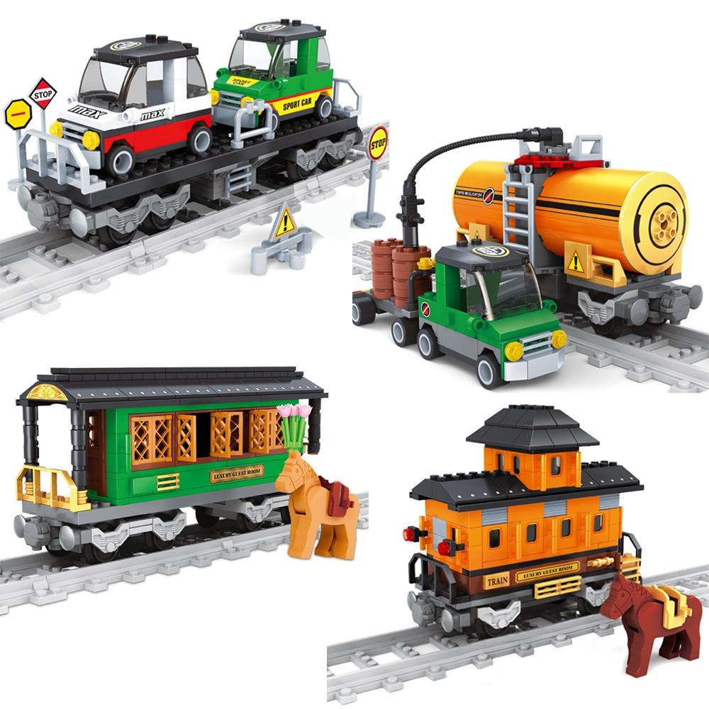 AUSINI Railway Train Toys for Children Mobile Tank Refueling Truck Building Blocks Mini Car Railroad Trains Boys Toy Kid Figures