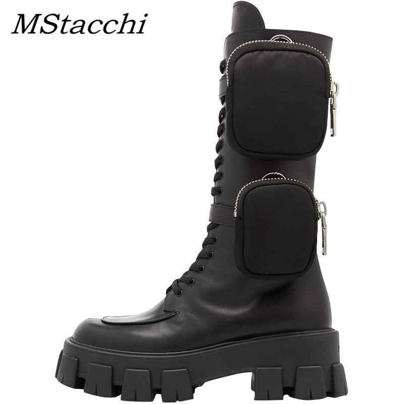 Closeout DealsMstacchi Knight Boots Motorcycle Shoes Platform Pocket Chunky-Sole Mid-Calf Designer