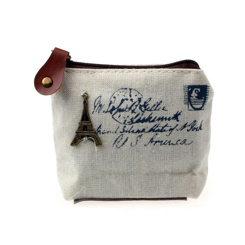 Bolsa de moedas do vintage pequeno feminino torre eiffel impressão pequena carteira senhora menina retro bolsa de moedas bolsa carteira presente #102y25