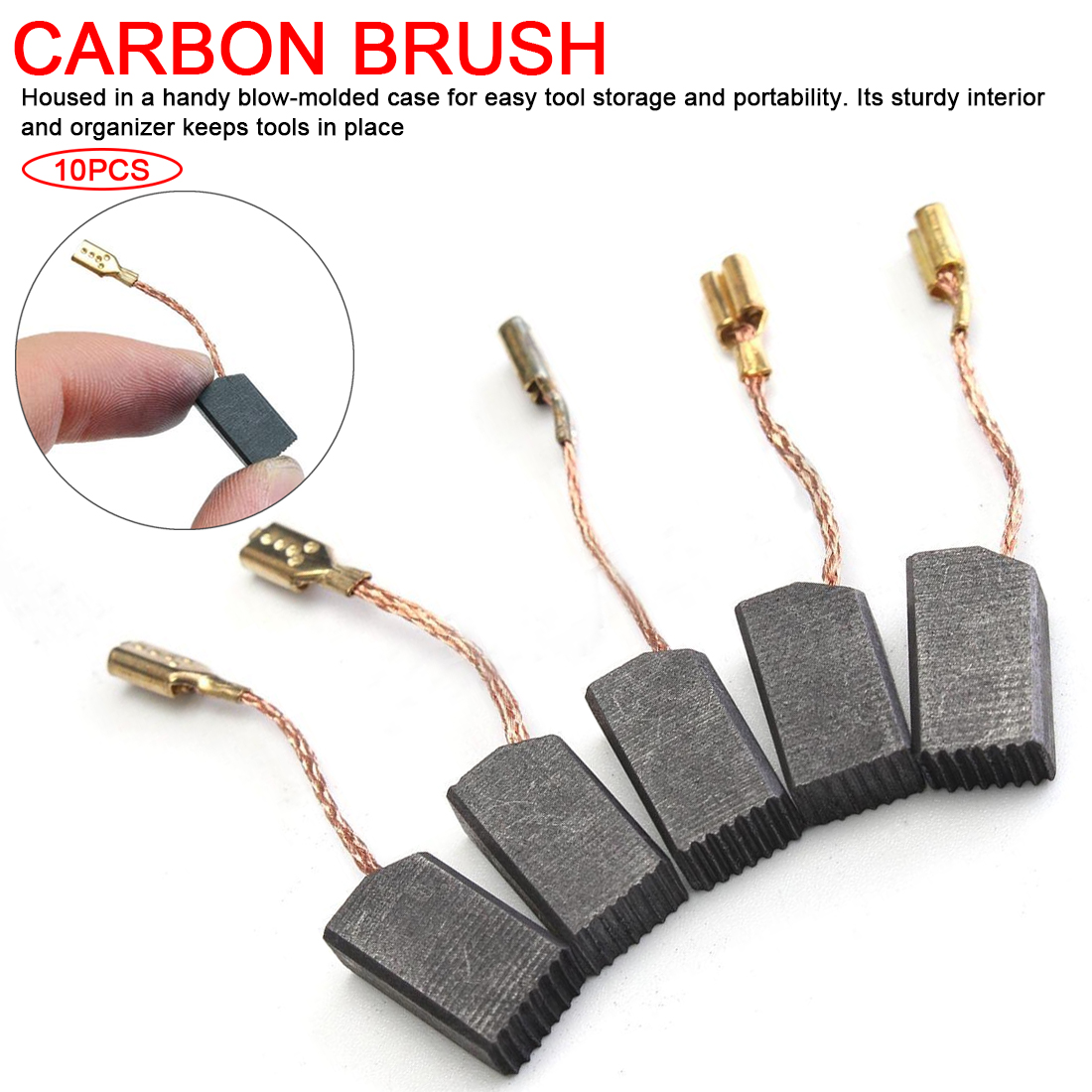 New 10pcs/lot Graphite Copper Motor Carbon Brushes Set Tight Copper Wire For Electric Hammer/Drill Angle Grinder 15*8*5mm