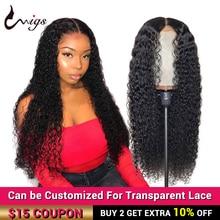 UWIGS Mongolian Kinky Curly Human Hair Wigs 360 Lace Frontal